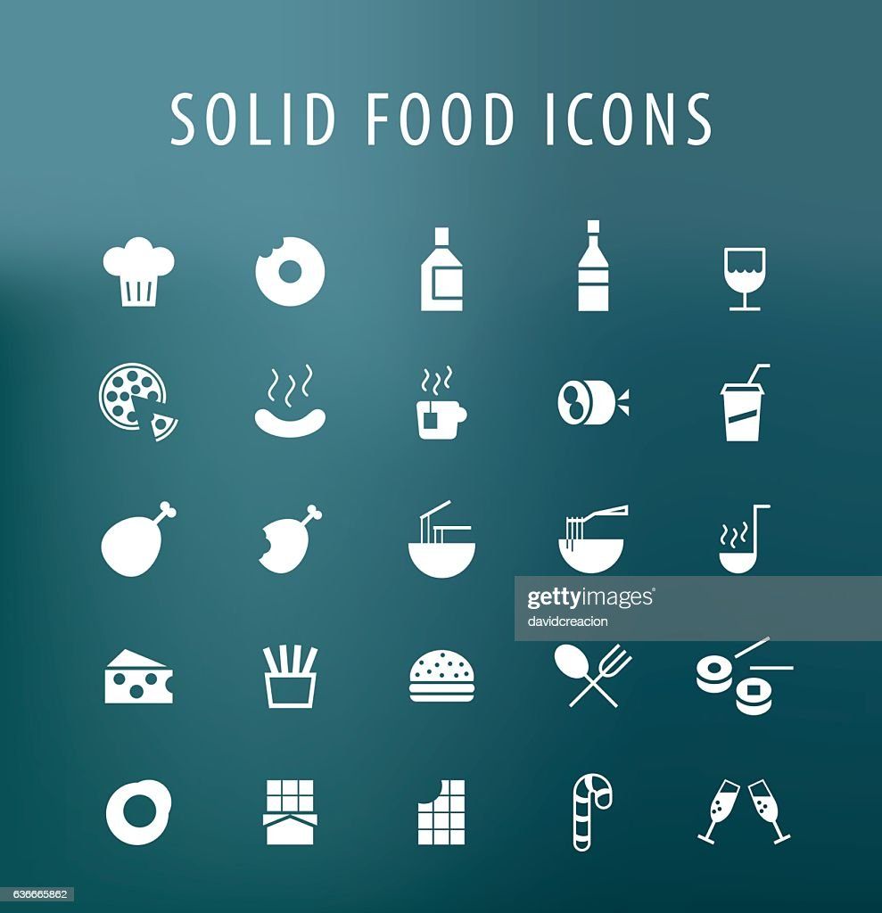 Set of 25 Universal Solid Food Icons.