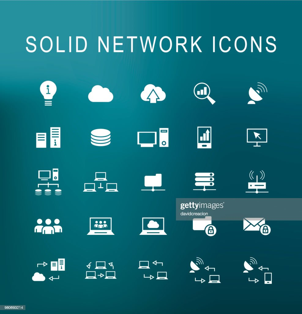 Set of 25 Universal Solid Network Icons on Dark Background . Isolated Elements