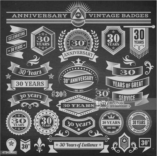 Set of 25 year annniversary hand-drawn chalkboard royalty free