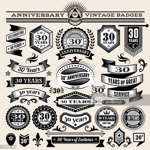 Set of 25 year annniversary hand-drawn royalty free