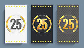 Set of 25th anniversary decorated anniversary card template.