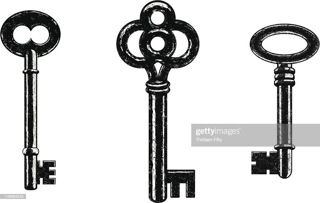 Set of 3 black skeleton keys in vintage style