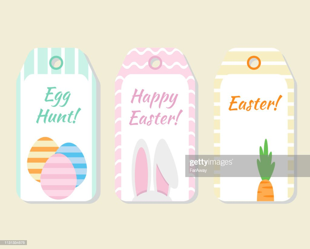 Set of 3 Easter gift/favor tags in pastel colors.