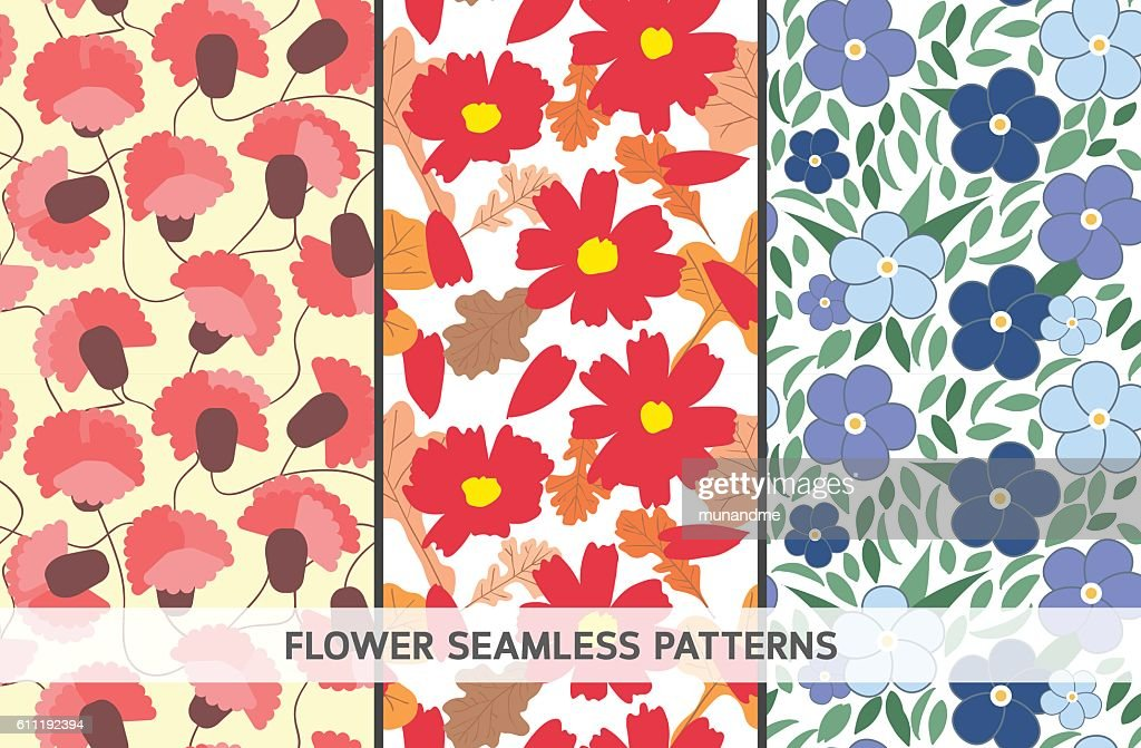 Set of 3 flowers seamless patterns
