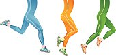 Set of 3 illustrated running legs in blue, orange & green
