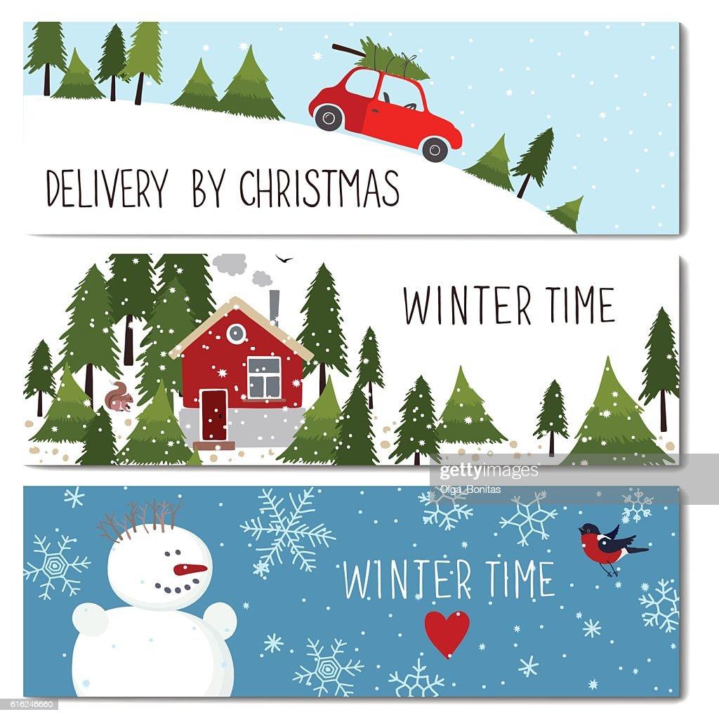 Set of 3 lovely winter cards templates. : Arte vetorial