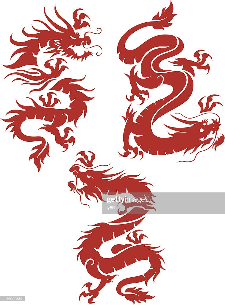 Set of 3 red dragons