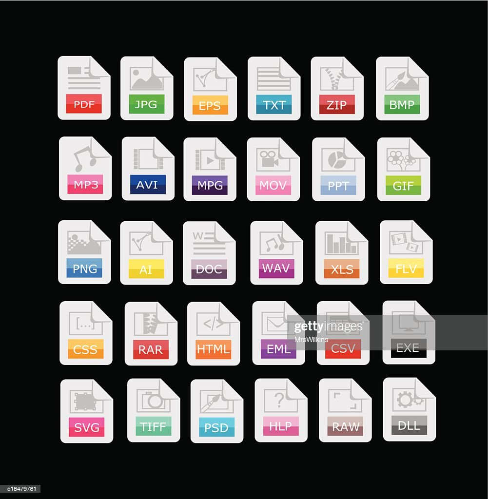 Set of 30 file format, extensions icons vector