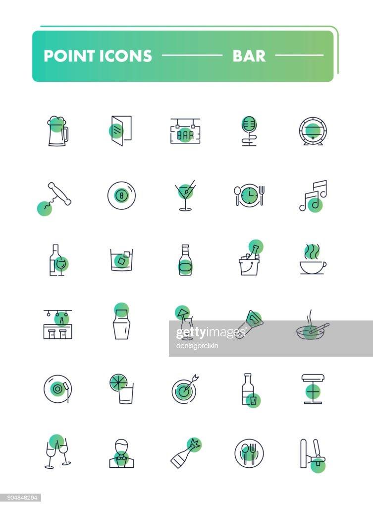 Set of 30 line icons. Bar