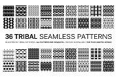 Set of 36 tribal seamless patterns.