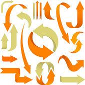 Set of 3D arrows in orange and beige.