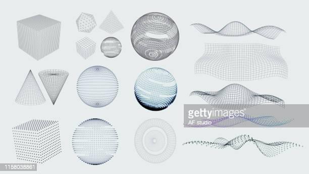 set of 3d elements - oscilloscope stock illustrations