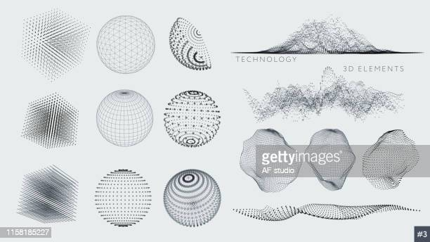 set of 3d elements - grid pattern stock illustrations