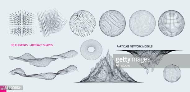 ilustrações, clipart, desenhos animados e ícones de conjunto de elementos 3d - física