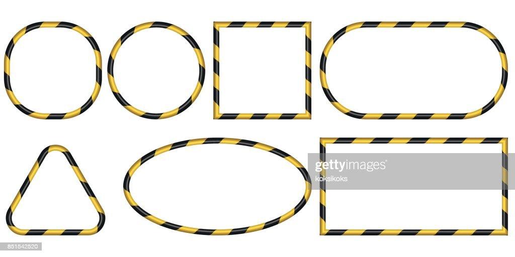 eingestellt von 3d bildern band gelbe und schwarzen streifen muster vektor warnung vor der gefahr des industriellen rahmen sicherheitskonzept - Sicherheitskonzept Muster