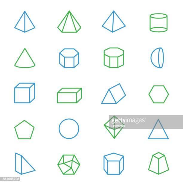 ilustrações, clipart, desenhos animados e ícones de conjunto de formas geométricas 3d - cilindro