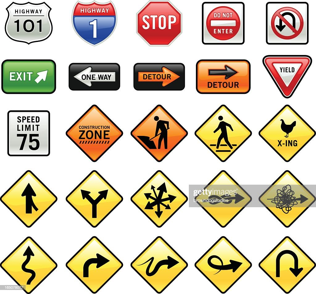 Set of 3D graphic road signs on white background