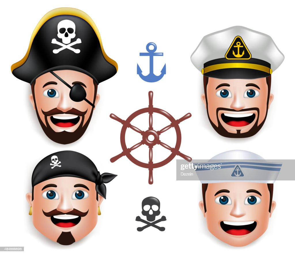 Set of 3D Realistic Face Head of Man Sailors Pirates