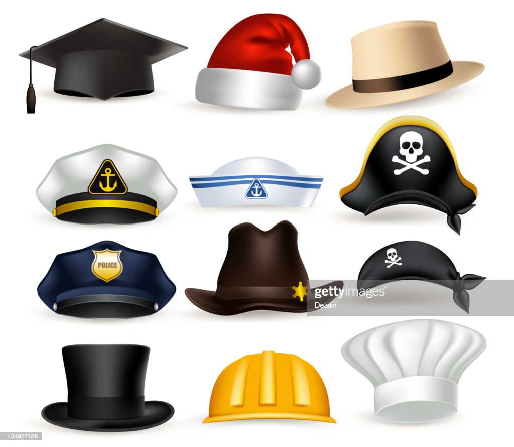 Set of 3D Realistic Professional Hat and Cap Vector Illustration