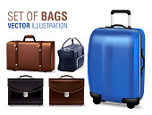 Set of 3D Realistic Traveling Bags and Briefcase