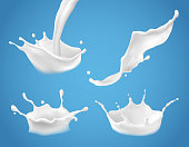 Set of 3D vector milk splash and pouring, realistic natural dairy products, yogurt or cream