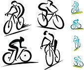 Set of 4 abstract cycling icons