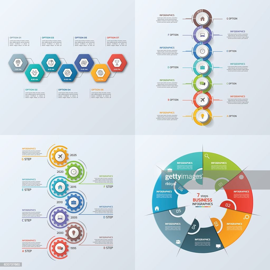 Set of 4 business infographic template with 7 steps