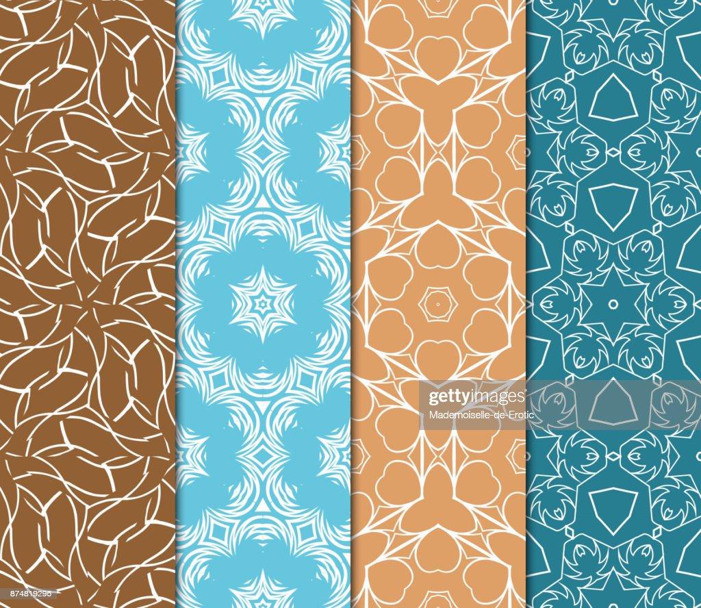 set of 4 geometric patterns in arabian style seamless line art for