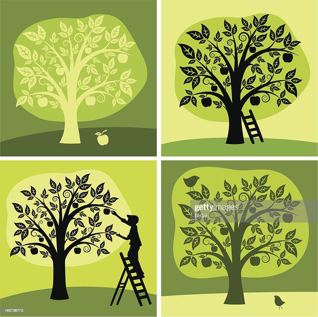 Set of 4 green & black illustration of an apple tree