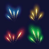 Set of 4 realistic fireworks different colors
