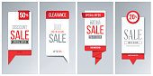 Set of 4 red sale banner templates.
