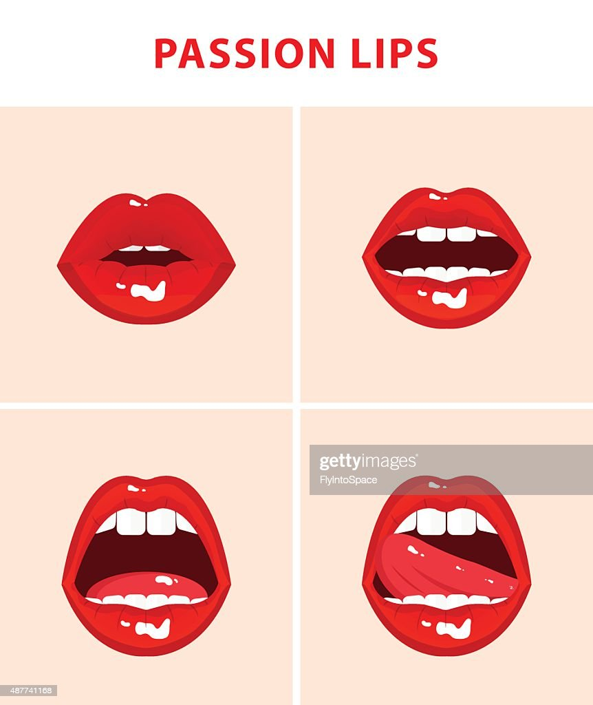 Set of 4 sexy open mouths, red erotic seductive lips