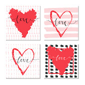 Set of 4 Valentines day gift card