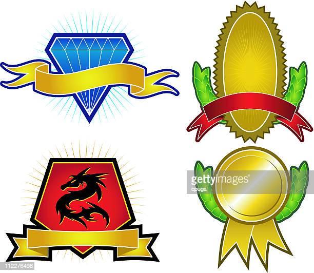 set of 4 vector emblems & crests - medallion stock illustrations
