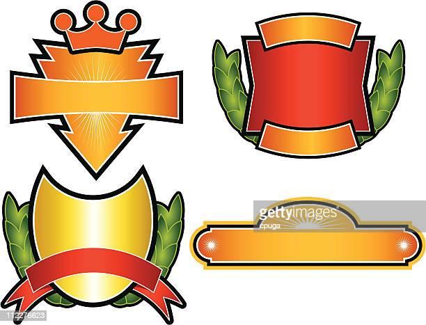 set of 4 vector emblems & crests - medallion stock illustrations, clip art, cartoons, & icons