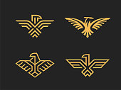 Set of 4 vector signs. Abstract eagles