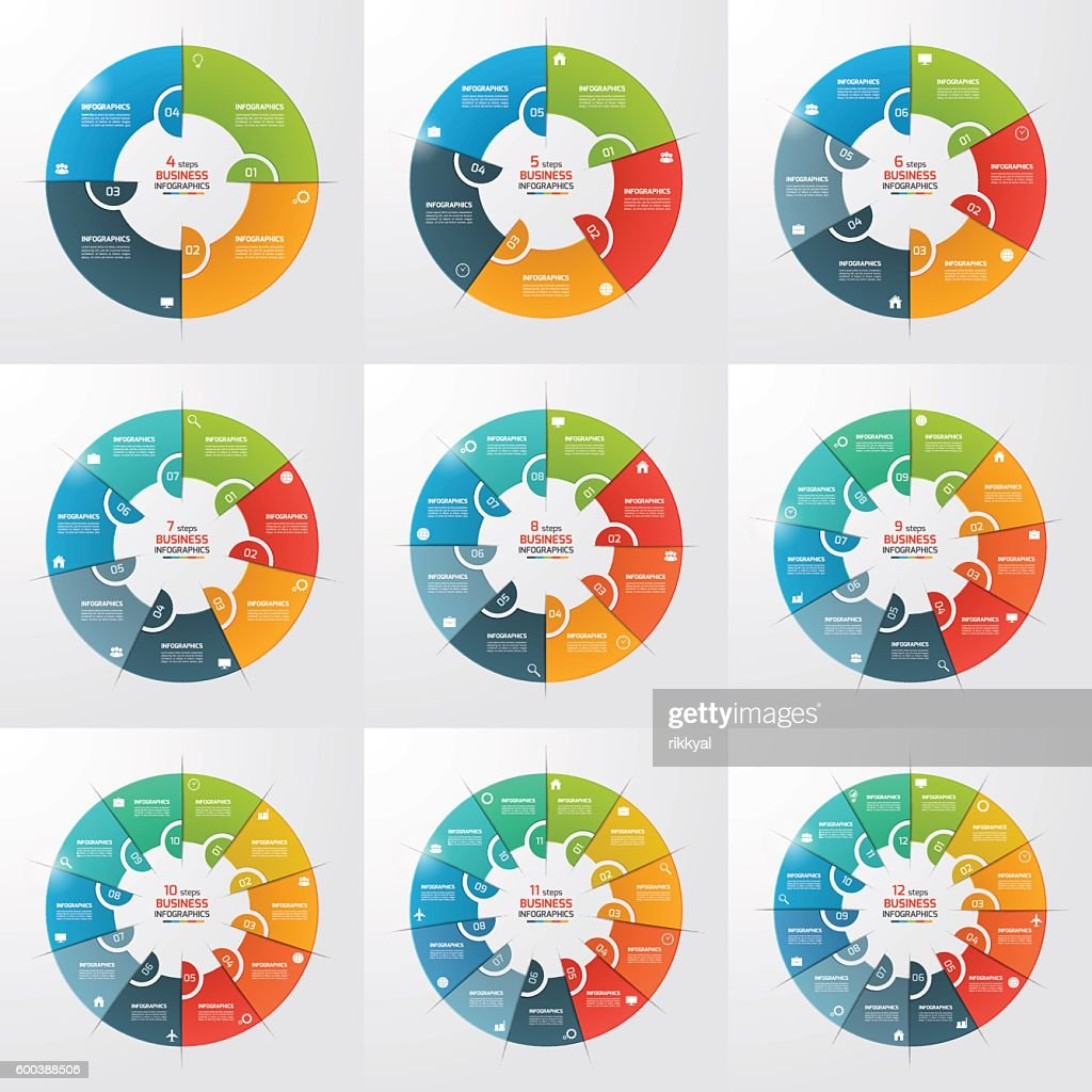 Set of 4-12 steps pie chart circle infographic templates.