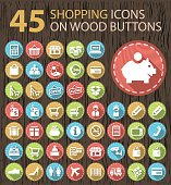 Set of 45 Flat Business Icons on Circular Wood Buttons.