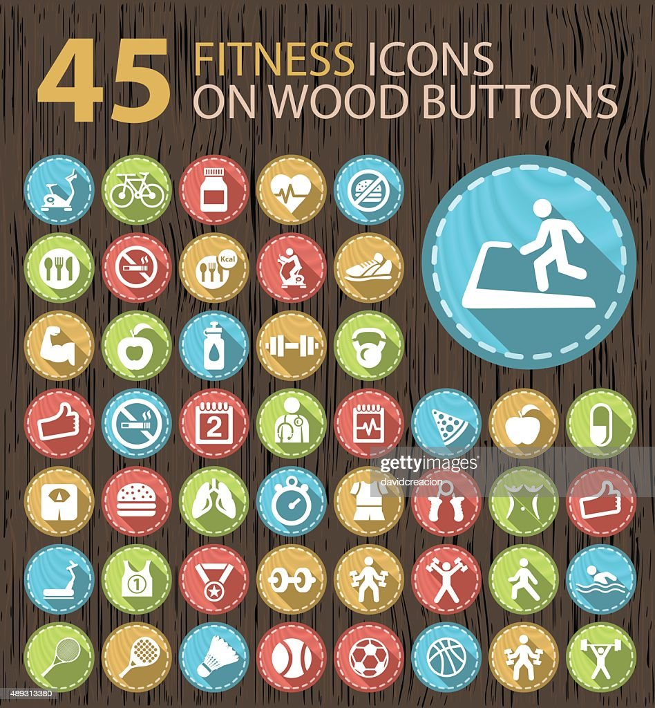 Set of 45 Flat Fitness White Icons on Wood Buttons.