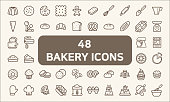Set of 48 bakery and dessert Icons line style.