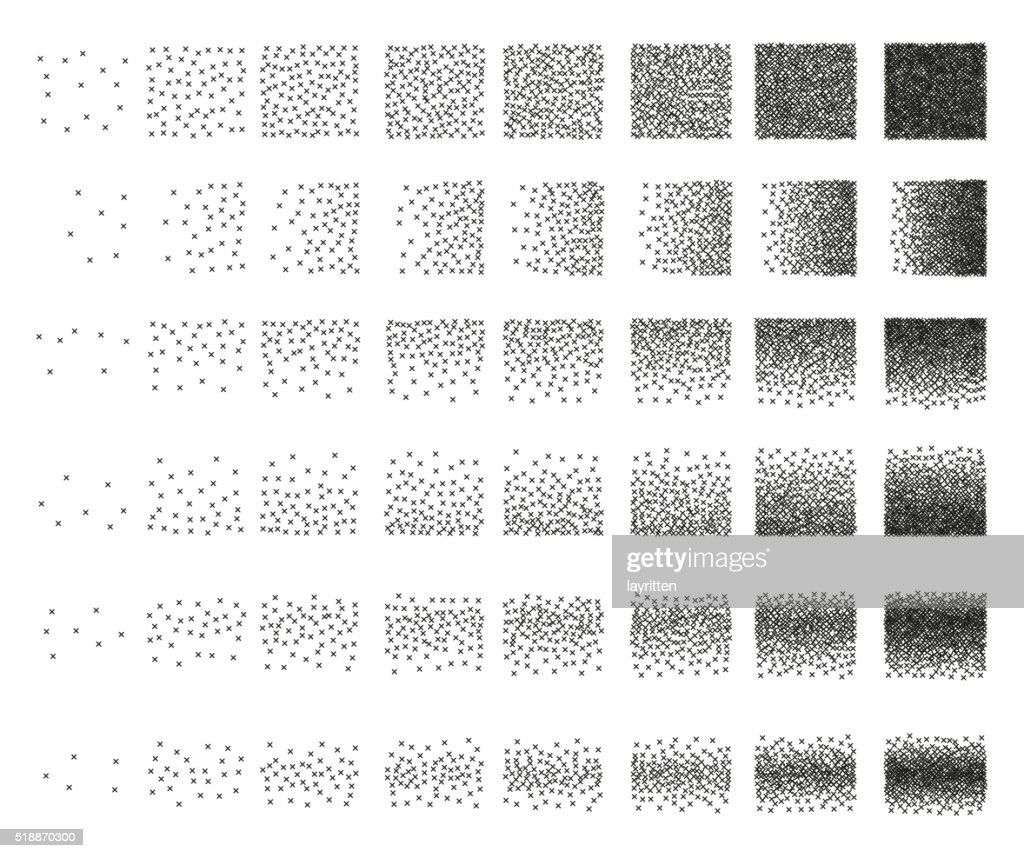 Set of 48 cross Stipple pattern for design. Tile spots