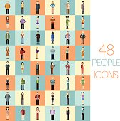 Set of 48 people flat icons
