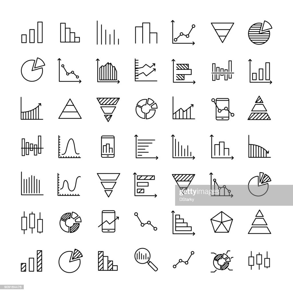Set of 49 diagram thin line icons.