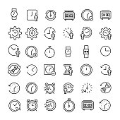Set of 49 time thin line icons.