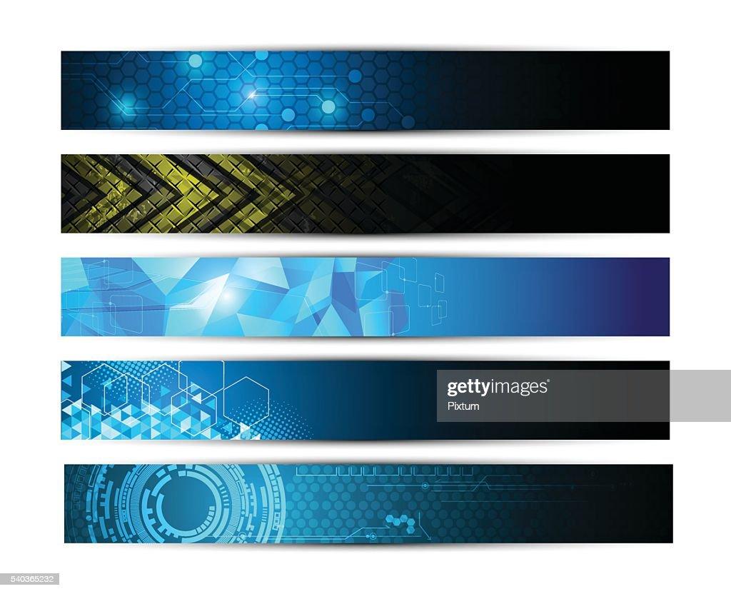 set of 5 banner technology innovation digital pattern texture