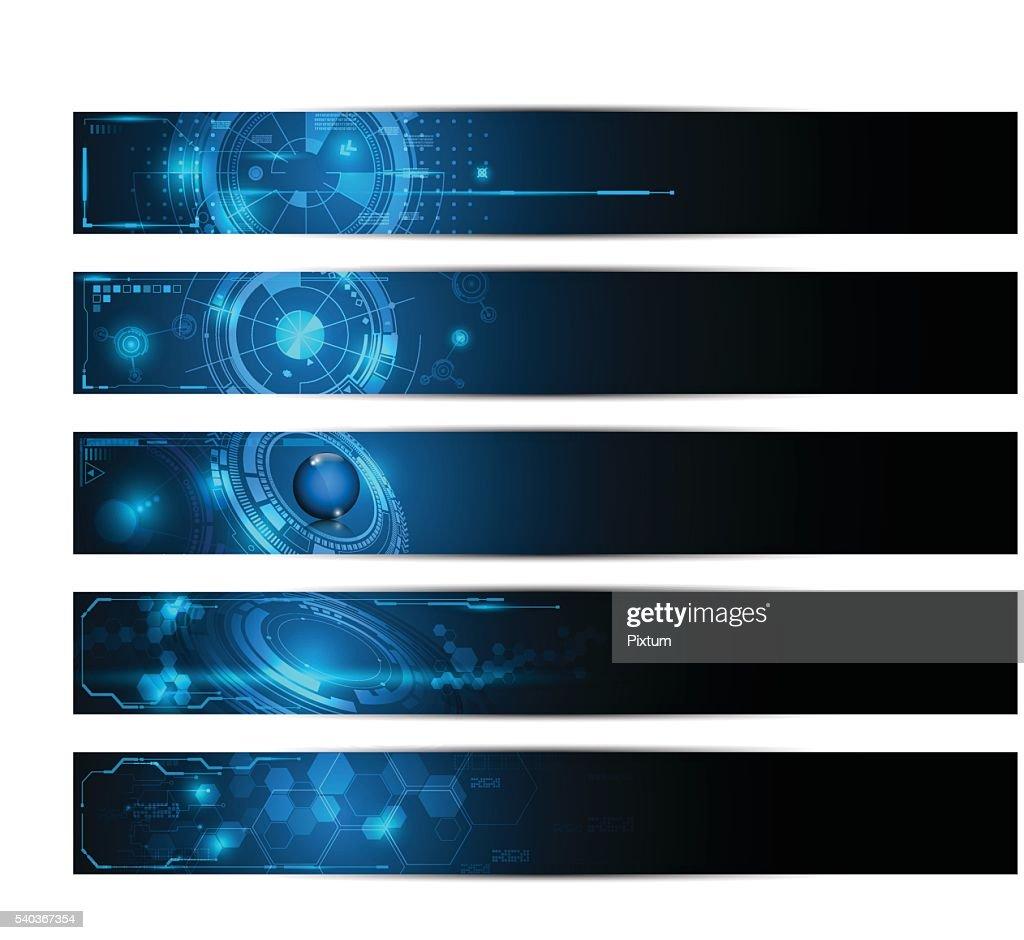 set of 5 banner technology innovation future futuristic design concept
