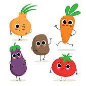 Set of 5 cute cartoon vegetable characters isolated on white