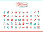Set of 50 beautiful Christmas icons, flat design style