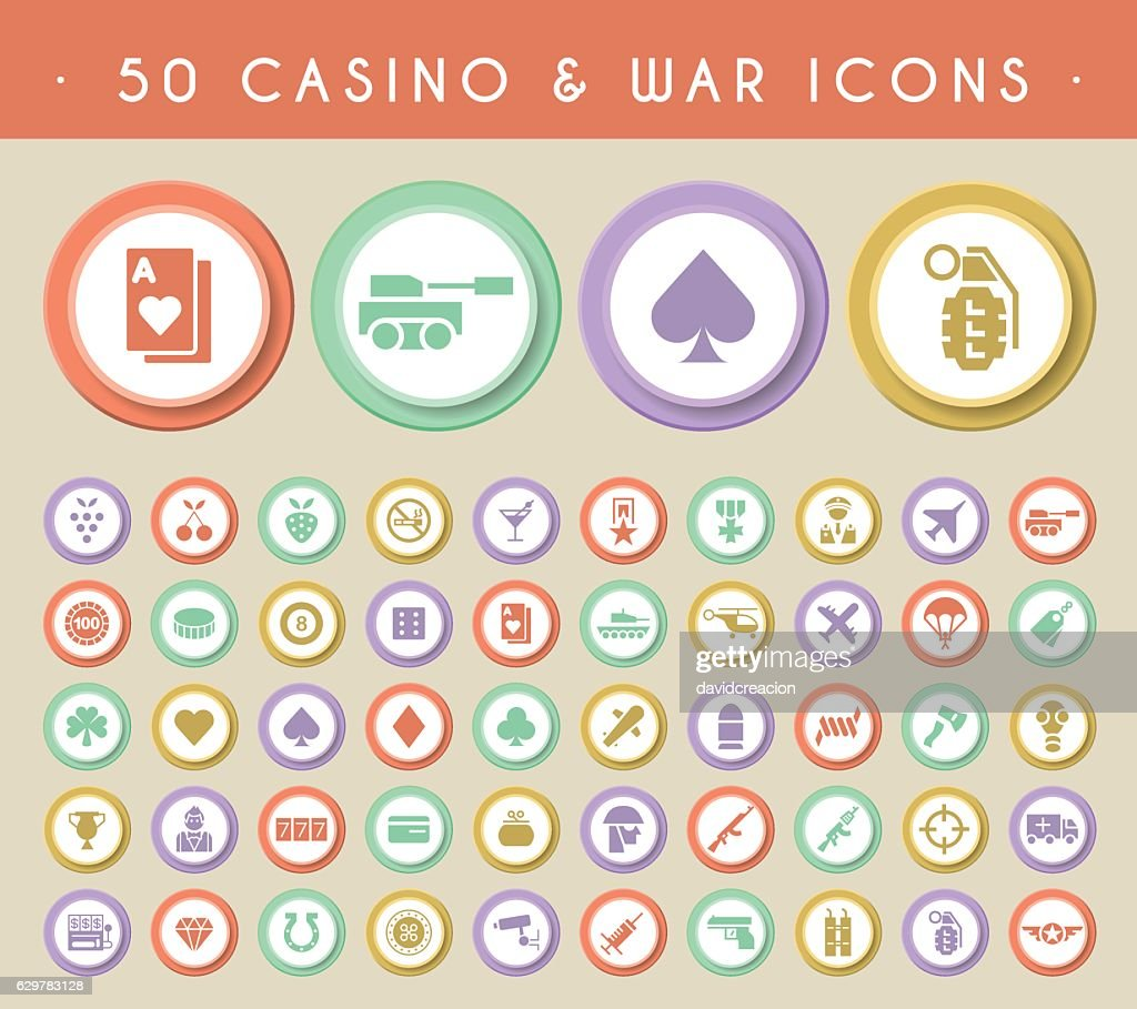 Set of 50 Casino and War Icons.