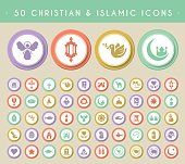 Set of 50 Christian and Islamic Icons.